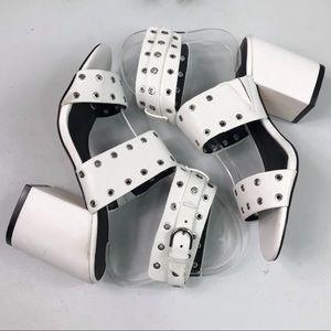 Rebecca Minkoff Leather Studded Chunky Heel Sandal